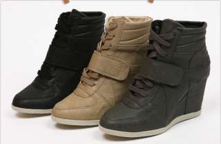 Women Wedge High Heels High Top Sneakers Tennis Shoes Black/Beige/Gray