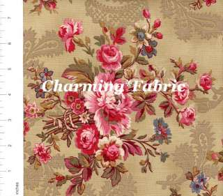 DAVID TEXTILES Pink Floral Soft Green Quilting Fabric