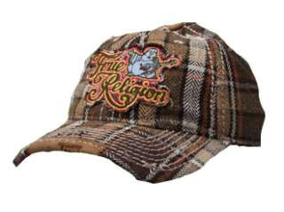 True Religion Jeans Buddha Plaid Logo Hat in Brown