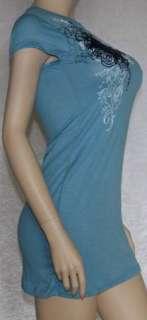Cap sleeve tunic top tee dress tattoo print