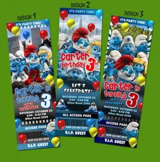 THE SMURFS MOVIE BIRTHDAY PARTY INVITATION TICKET 1ST  c3 customizable