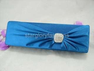 Blue/Teal Satin RHINESTONES Wedding Purse Clutch Butterfly FER 068172