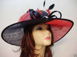 Kentucky Derby Ladies Hat RED BLACK Tea Dress Hats