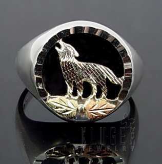 Black Hills Gold .925 Sterling Ring w Wolf Size 5