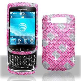 Blackberry 9800 torch   Pink Plaid BLING case Cover