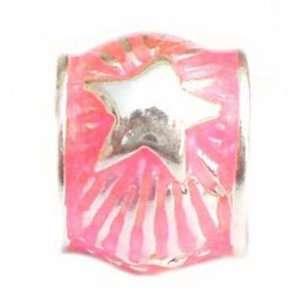 TOC BEADZ Neon Pink Shooting Star 8mm Enamel Bead Jewelry