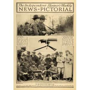1918 Print WWI Browning Machine Gun Rifle Army Officers