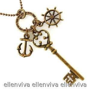 Boat Steering Wheel Anchor Key Necklace New #ne258cp