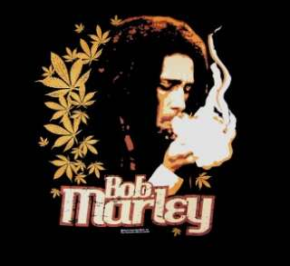 Bob Marley   Marijuana Smoke Gold Leaves t shirt black new 1X 3X Zion