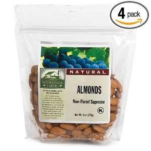 Woodstock Farms Almonds, Non Pariel Supreme, 8 Ounce Bags (Pack of 4