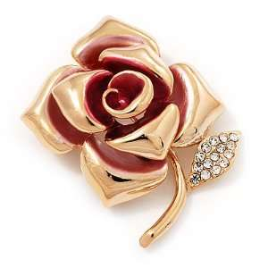 Gold Plated Crystal Rose Brooch (Pink & Clear) Jewelry