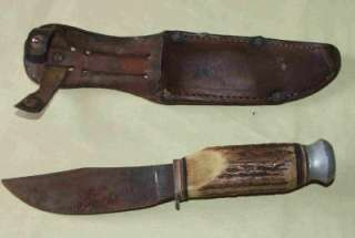 Vintage Bonsa Solingen Germany Hunting Knife Stag Handle Hollow Ground