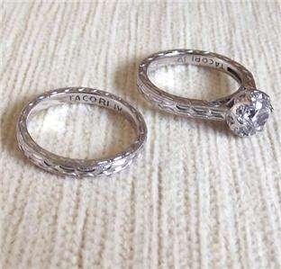 TACORI DIAMONIQUE & BAND PLATINUM PLATED STERLING SILVER RING SET s  Q