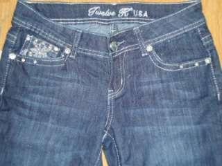 juniors 12K skinny jeans CRYSTAL fleur RHINESTONES 33 bling 11 ~like
