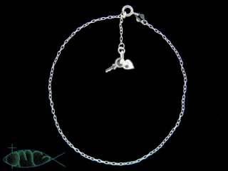 NEW Sterling Silver Heart & Key Charm Ankle Bracelet