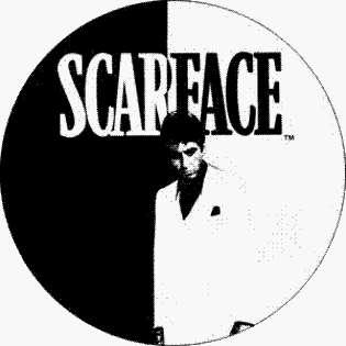 Black & White Logo (Al Pacino)   1 1/2 Button / Pin Clothing
