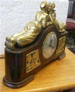 electric wood cased SESSIONS mantel clock Kissing Dutch boy girl
