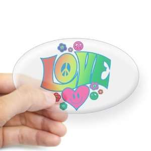 Sticker Clear (Oval) Love Peace Symbols Hearts and Flowers