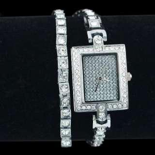 ceramic white gold chic woman bangle wrist watch swarovski crystal
