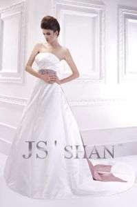 Empire Sash Satin Strapless A line Bridal Gown Wedding Dress,US4 UK8