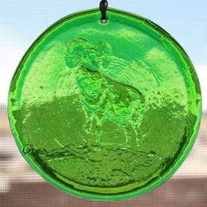 Window Suncatcher Ram in Green Hanging Glass Suncatcher   3.25 in Dia