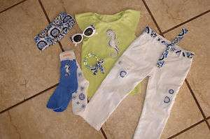 Gymboree GREEK ISLE STYLE 7pc outfit LOT 5 6 top jeans hair sunglasses