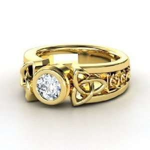 Celtic Sun Ring, Round Diamond 18K Yellow Gold Ring Jewelry