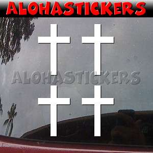 Lot of 4   3 inch CHRISTIAN CROSS Car Truck Laptop Vinyl Decal Sticker
