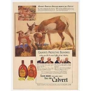 Antelope & Fawns art Calvert Whiskey Print Ad (22646)