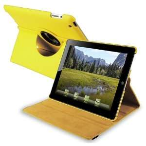 Yellow 360 degree Leather Case with FREE Anti Glare LCD