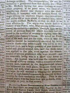 1827 newspaper NEGRO SLAVE LYNCHED   BURNED ALIVE at the STAKE by MOB