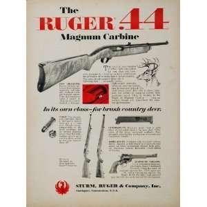 1967 Ad Sturm Ruger .44 Magnum Carbine Deer Hunting   Original Print