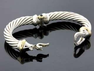 David Yurman 925 Silver/18K Yellow Gold Pave Diamond Women Cable