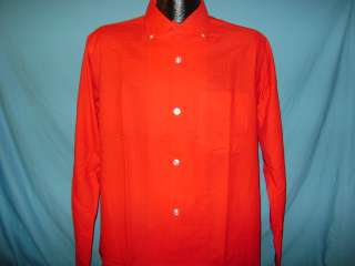 vtg 50s BVD SANFORDIZED RED MENS LOOP COLLAR SHIRT 15