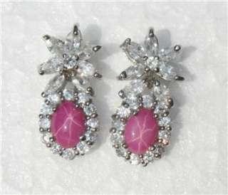 White Gold 18k 14k gf 6 Rays Pink Star Sapphire Dangle Earrings