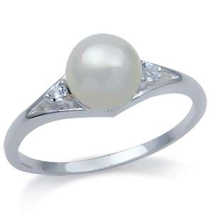 7MM Natural White Freshwater Pearl & White Topaz 925 Sterling Silver