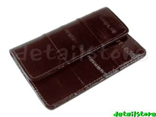 EEL SKIN CARD HOLDER COIN PURSE CASE w/KEY RING BROWN