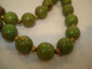 Extra Long 30 Beaded Spinach Bakelite Necklace 34 Gram
