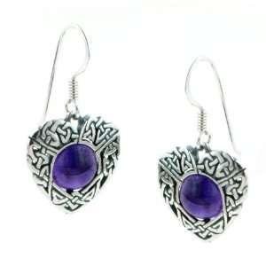 Sterling Silver Celtic Knot Amethyst Heart Earrings Jewelry