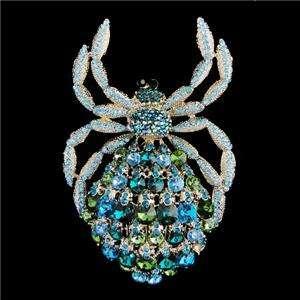Insect Spider Brooch Pin Blue Swarovski Crystal Chic
