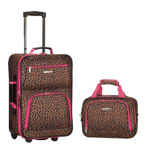 Rio Upright Carry On & Tote 2 Piece Luggage Set   Pink Leopard