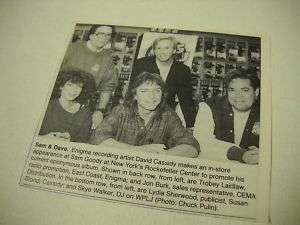 DAVID CASSIDY New York record sore 1990 PROMO Pic/ex |