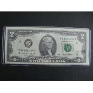 Fancy Serial Number Uncirculated $2 Two Dollar Bill Note F 09829444 A