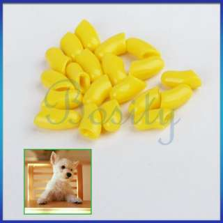 Dog Pet Cat Cats Kitty Paw Claw Nail Caps Yellow S 20pc