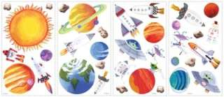 Set of 35 New OUTER SPACE WALL DECALS Planets Stars Stickers Boys