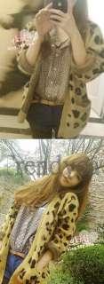 Celeb Vintage Fashion Leopard Print Angora Cardigan Knitwear