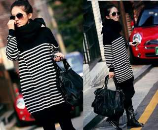 NEW black&white strips casual long sweater two pocket crew neck