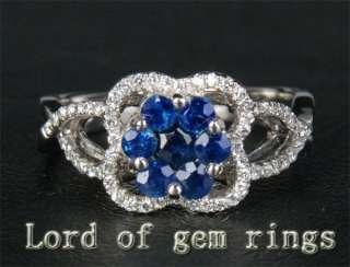 23ct Ceylon Sapphire & Diamond 14K White gold Ring ##