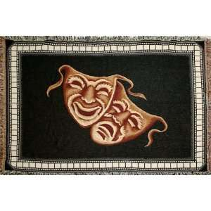 Comedy Tragedy Deluxe Home Theater Throw Blanket in Black