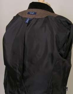 Chaps Tweed Blazer Jacket Brown Herringbone Wool 12 NWOT Brushed